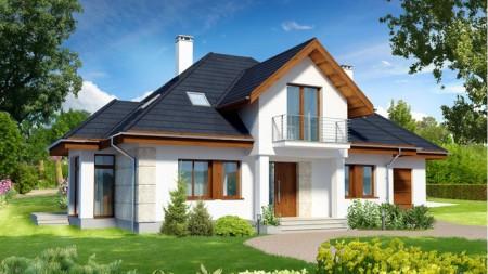 проект двухэтажного дома с двускатной крышей и гаражом