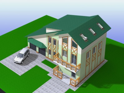 проект двухэтажного дома с гаражом на 2 автомобиля
