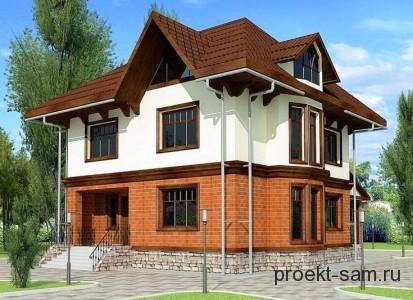 проект двухэтажного дома с мансардой для большой семьи