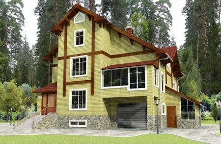 проект двухэтажного дома с мансардой и подвалом