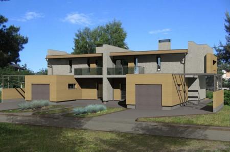 проект двухэтажного дома с плоской крышей из кирпича