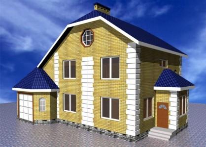 проект двухэтажного дома с сауной и гаражом