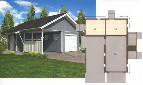 проект гаража с хозблоком и навесом