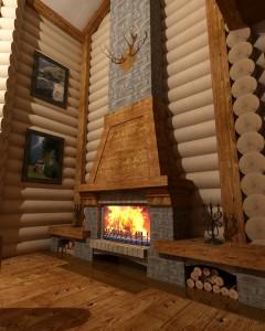 проект камина в деревянном доме