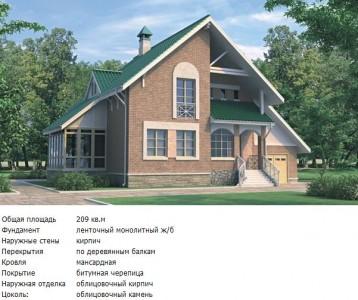 проект кирпичного дома с деревянными балками