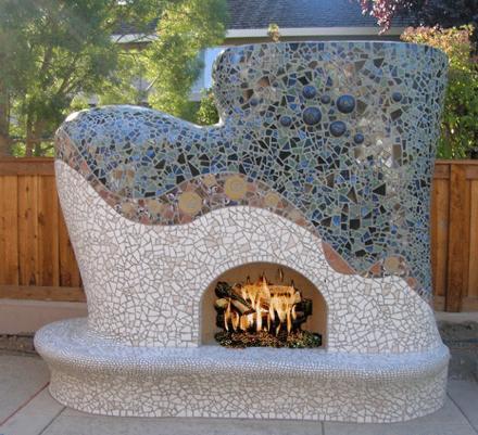 проект уличного камина из камня