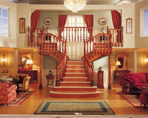 проект красивой деревянной лестницы в частном доме