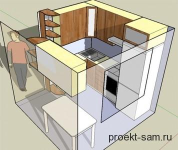 проект небольшой кухни для хрущевки