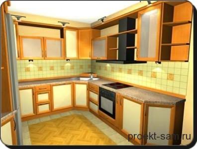 простой проект мебели на кухне
