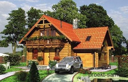 проект маленького деревянного дома с мансардой