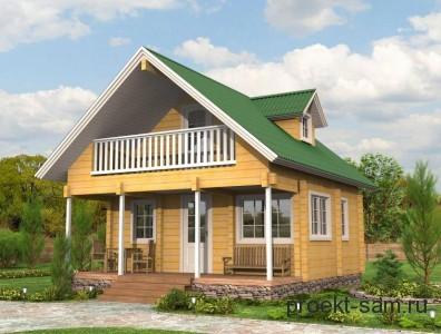 проект небольшого финского домика с балконом и террасой