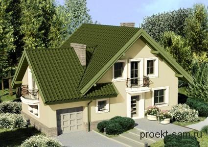 проект небольшого кирпичного дома с мансардой и гаражом