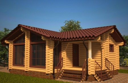 проект одноэтажного деревянного дома из бруса с мансардой