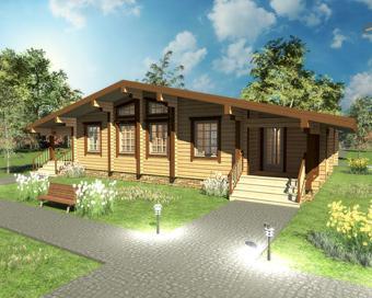 проект одноэтажного деревянного дома из клееного бруса