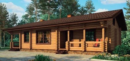 проект одноэтажного деревянного дома из оцилиндрованного бруса