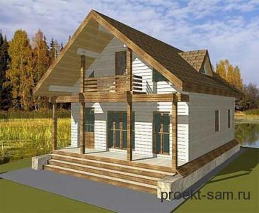 проект одноэтажного дома с мансардой из бруса