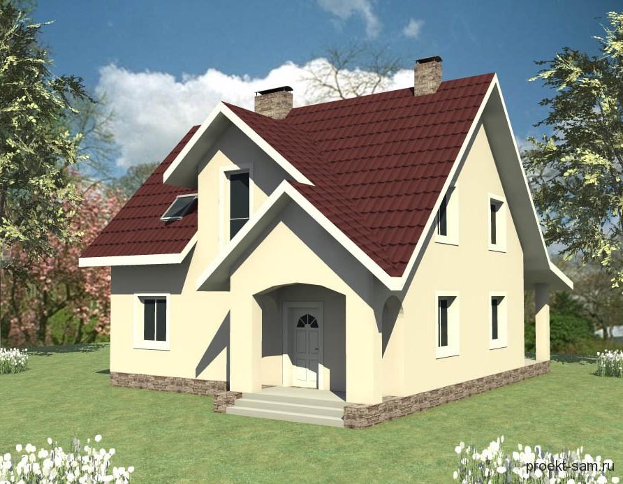 проект небольшого одноэтажного дома с мансардой
