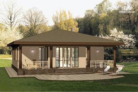 проект одноэтажного дома с верандой и 3-мя спальнями