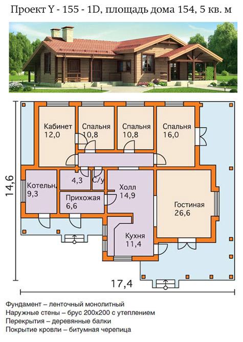 проект 4-х комнатного одноэтажного дома