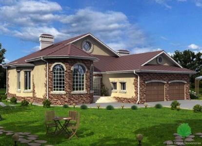 проект одноэтажного кирпичного дома с гаражом