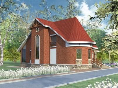 проект одноэтажного кирпичного дома с мансардой