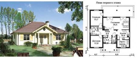 проект одноэтажного квадратного дома