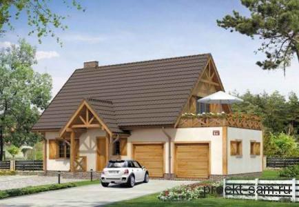 проект одноэтажного дома с гаражом до 150 кв м