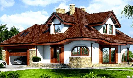 оригинальная крыша на четыре ската