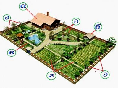 3D проект садового участка, поделенный на зоны