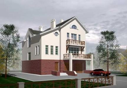 проект трехэтажного дома с мансардой и гаражом