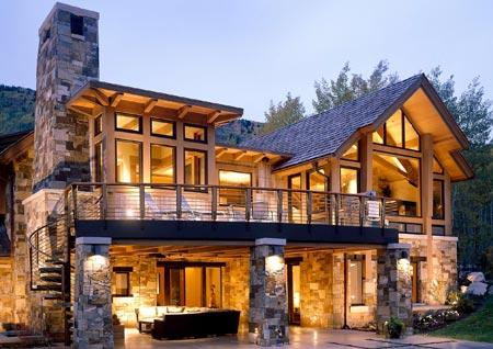 дом камень дерево