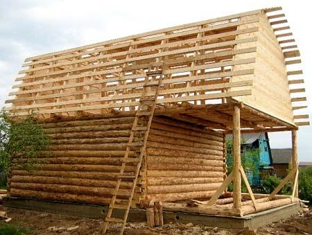 мансардная крыша для бани