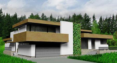 минималистический двухэтажный дом