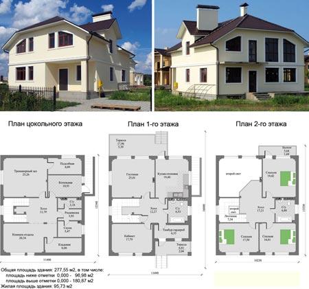 проект двухэтажного дома 11x11