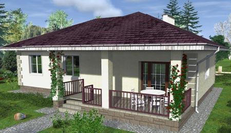 Schallisolierung. Entwurf Eines Einstöckigen Haus Mit Terrasse