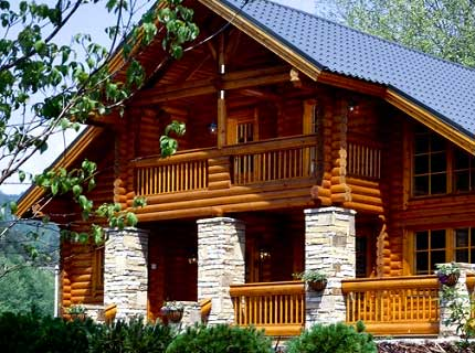 двухэтажный дом из калиброванного бревна