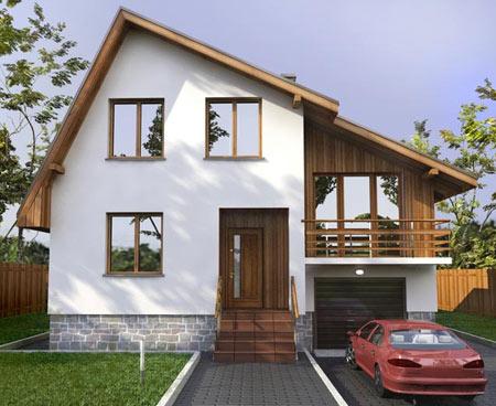 маленький дом с мансардой и гаражом
