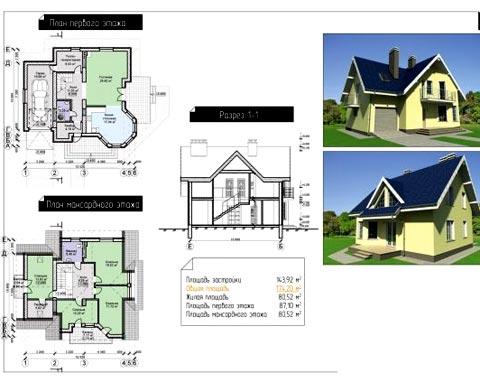проект дом мансарда