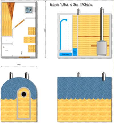 план передвижная баня