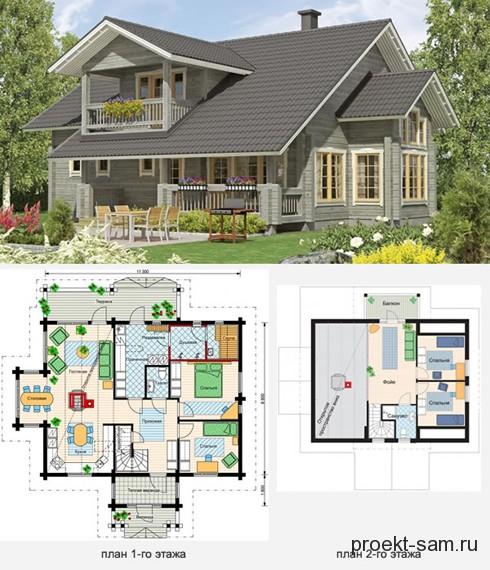 проект и планировка двухэтажного финского дома с сауной