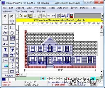 строительный чертеж в программе Home Plan Pro