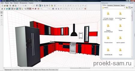 проект мебели в программе Pro100