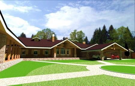 проект большого одноэтажного дома с гаражом на 2 машины