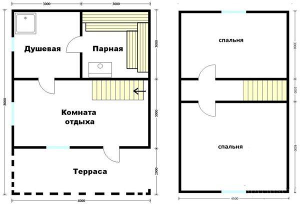 план дома 6 х 8