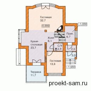 расположение комнат в доме 1-й этаж
