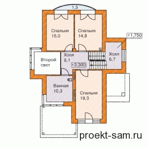 расположение комнат в доме 2-й этаж