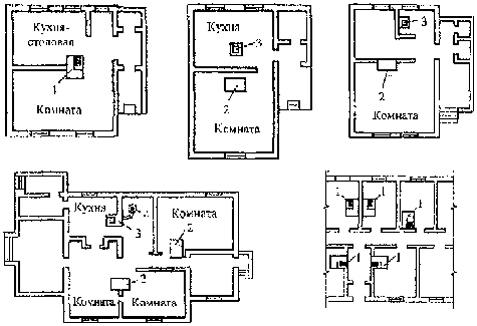 чертеж расположение печи в доме