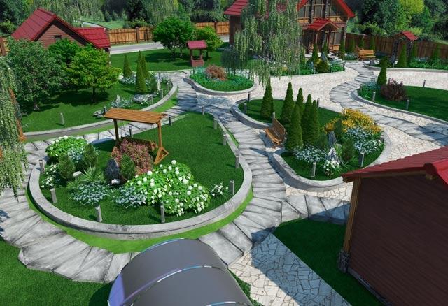 Дизайн придомовая территория частного дома фото 44