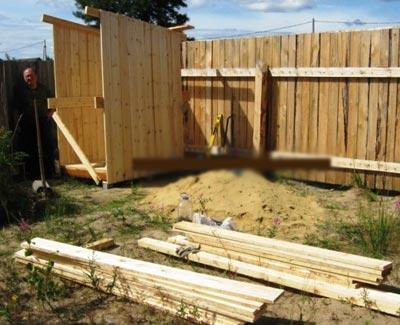 монтаж деревянный туалет