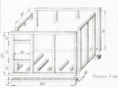 схема устройства будки для овчарки